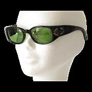Vintage Cat Eye Women Sunglasses Retro Black Frame gold-paint carving rhinestone