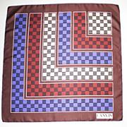 Lanvin Paris Vintage 100% Silk Scarf 70's colorful geometric print