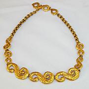 Rare Fab 1980's Vintage Yves Saint Laurent YSL signed Gold Pendant Necklace