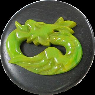 Rare Vintage Bakelite Wood Pin Brooch Art Deco 1940s Carved Dragon green marble