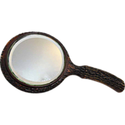 Rustic Faux Wood Hand Mirror
