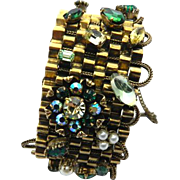 ORIGINAL BY ROBERT Green Stones and Pearls Wide Cuff Bracelet °° AMAZING **