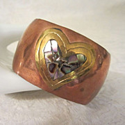 Wide Vintage Copper Cuff Bracelet with Brass and Abalone Heart