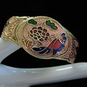 Vintage Pink Cloisonne' Butterflies and Flowers Clamper Bracelet