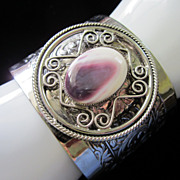 Vintage Wide Cuff and Polished Stone Bracelet