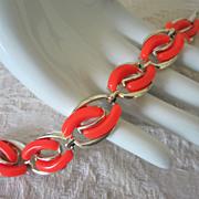 Vintage Bright Orange Thermoset Bracelet