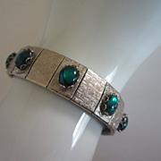 Vintage Teal Green Cabochons Bracelet