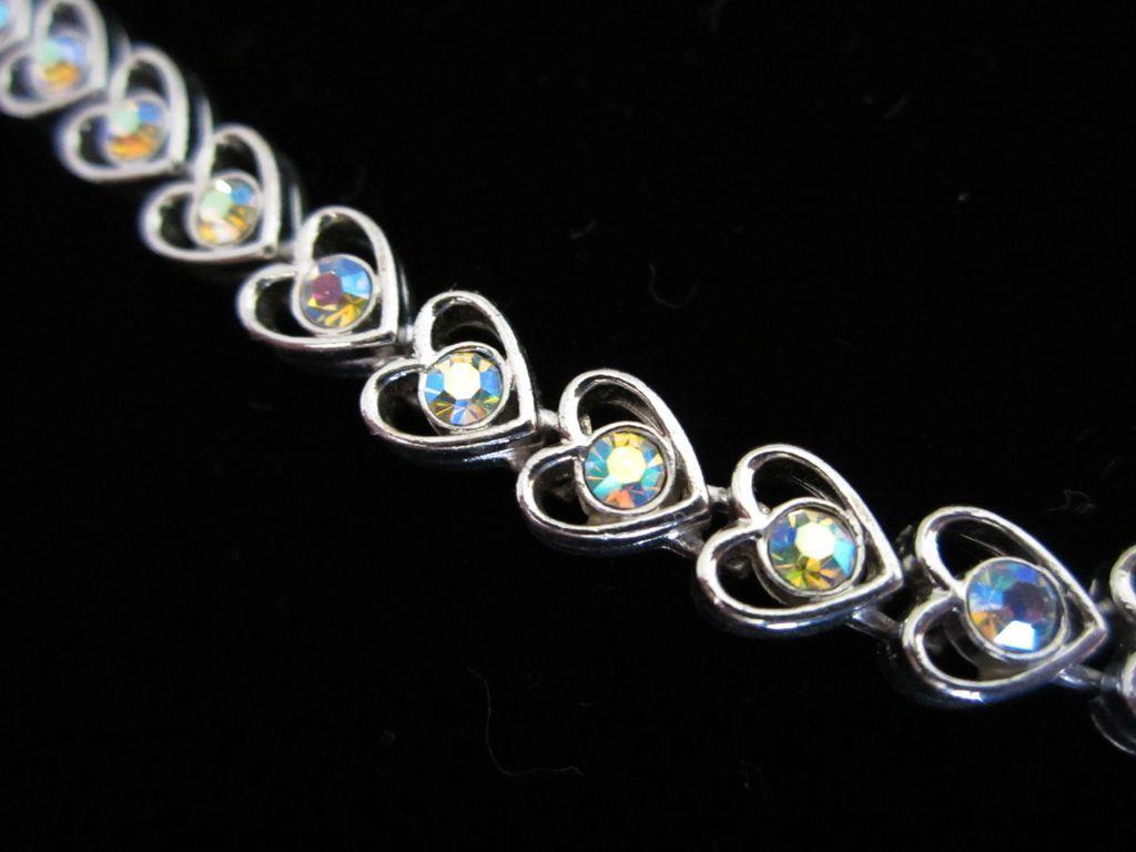 Vintage Heart Shaped Bracelet with AB Rhinestones