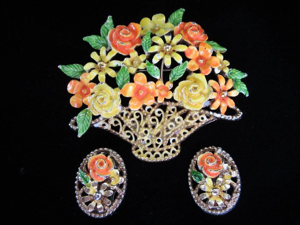 50% Off! Vintage Lisner Bright Enamel Flowers in Basket Demi Brooch and Earrings Set