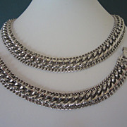 Vintage Sarah Coventry Silver Tone Chains Necklace Bracelet Demi Parure