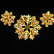 Vintage Dodds Rhinestone Snowflake Pin Brooch and Earrings Set