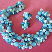 Vintage West Germany Blue Fruit Salad Necklace and Earring Demi Parure