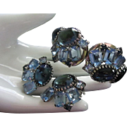 Juliana Hues of Blue Rhinestone Clamper Bracelet and Earrings Demi Parure