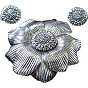 Ciner Silver Tone Flower Brooch and Earrings Set