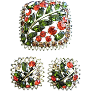 Brilliant Fall Inspired Rhinestone Brooch & Earrings Set