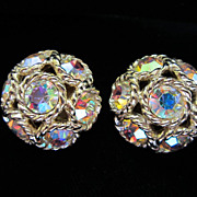 Vintage Sarah Coventry Rhinestone and Gold Tone Earrings