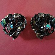 Vintage AUSTRIA signed Lucite Hearts and Rhinestone Earrings