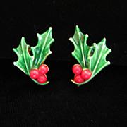 Vintage ART Enamel Holiday Holly Earrings