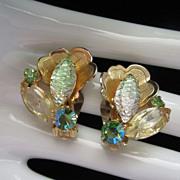 Juliana Pale Green and Citrine Rhinestone Earrings