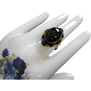 Superb Jet Black Glass and Black Enamel Victorian Style Ring, Size 10