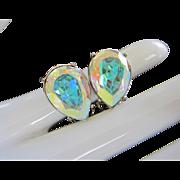 Brilliant Yellow Aurora Borealis Rhinestone Earrings