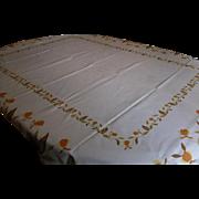 Vintage 1950's Autumn Leaf Tablecloth