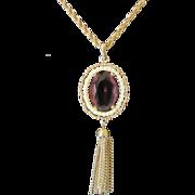 Vintage Avon Amethyst Rhinestone Pendant with Tassels Necklace