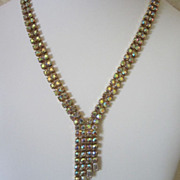 Vintage Brilliant Aurora Borealis Rhinestone Necklace