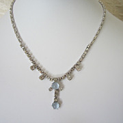 Vintage Rhinestone and Faux Moonstone Choker Necklace
