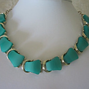 Vintage Seafoam Green Thermoset Choker Necklace