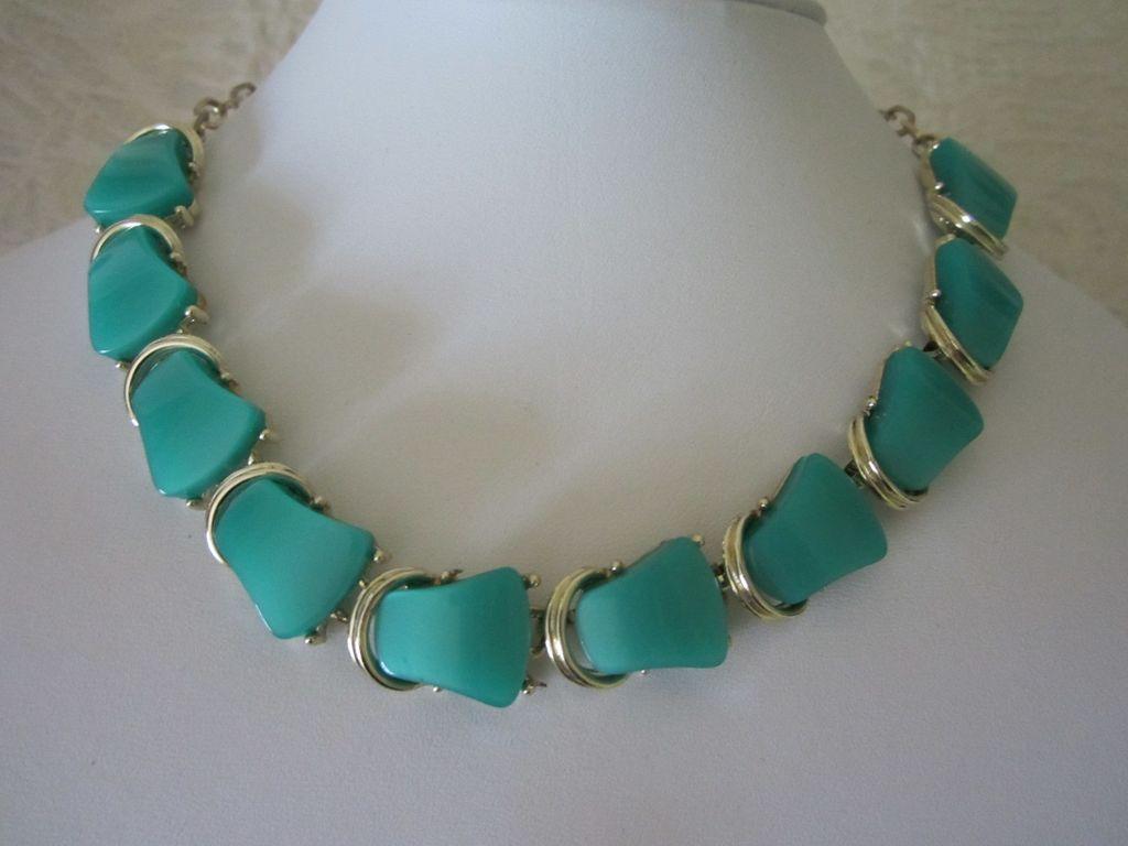 Vintage Seafoam Green Thermoset Choker Necklace
