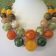 Vintage Colorful Thermoset Beaded Double Strand Necklace