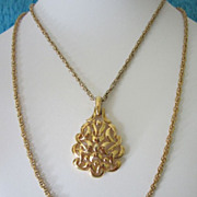Vintage Crown Trifari Modernist Pendant with Double Chain