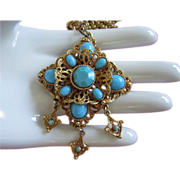 Ornate Turquoise Glass Necklace with Danglers