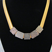Vintage Liz Claiborne Gold Tone and Hammered Metal Necklace