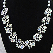 50% Off! Vintage Coro White Enamel Flowers with AB Rhinestones Necklace