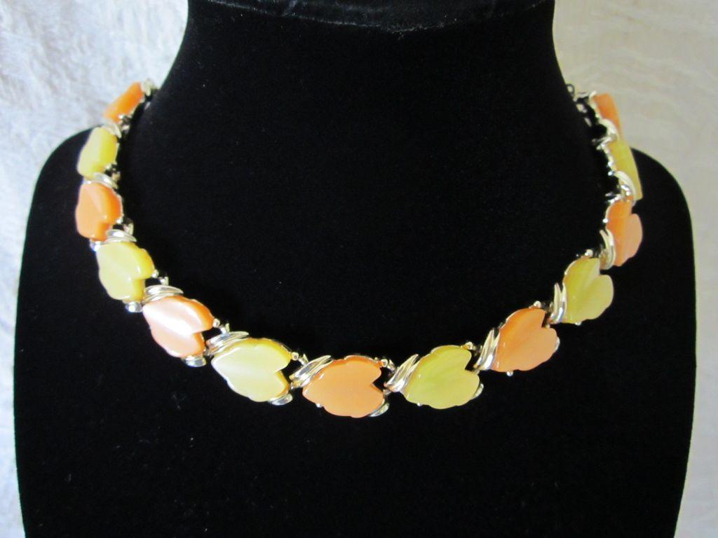 Vintage Orange Sherbert and Lemon Drop Thermoset Choker Necklace
