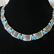 Vintage Aquamarine Rhinestones and Silver Tone Necklace