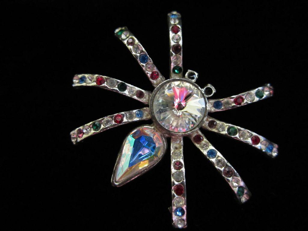 Vintage Rhinestone Spider Figural Pin Brooch