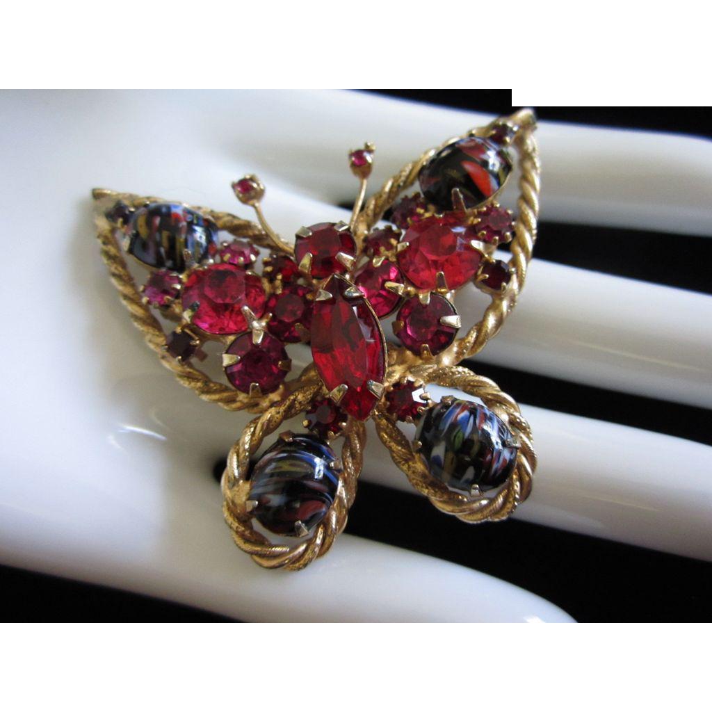 Beautiful Alice Caviness Rhinestone & Art Glass Butterfly Pin Brooch