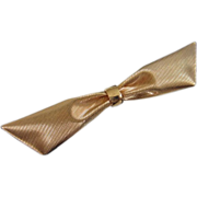 Vintage Napier Gold Tone Bow Figural Pin Brooch