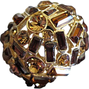 Incredible 3 Shades of Topaz Rhinestone Ring, Size 12