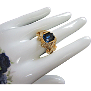 Elizabeth Taylor Imitation Sapphire and Diamond Ring, Size 12