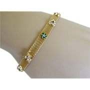 Dainty Gold Tone Mesh Bracelet with Safety Chain