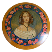 Beautiful Treen Round Box with Portrait Germany