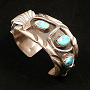 1970's Watch Cuff of Sterling Silver and Turquoise with Snake Sesign, from the Covered Wagon Collection
