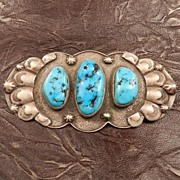 Native American Oval Sterling Silver and Turquoise Pin Signed by Jeff Thomas