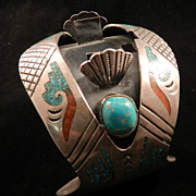 1970's Watch Cuff with Turquoise and Coral Chip Inlay