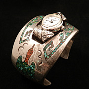 Vintage 1970's Watch Cuff with Chip Inlay