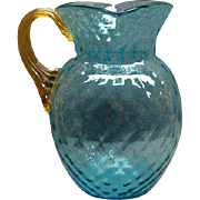 Rare Victorian Blue Thumbprint Glass Water Pitcher Applied Amber Handle
